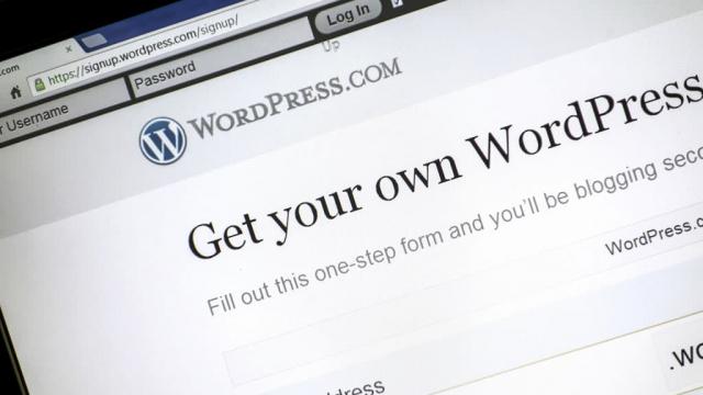 WordPress web design page viewed on computer screen