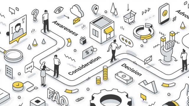 illustration of the customer journey through a UX-designed website