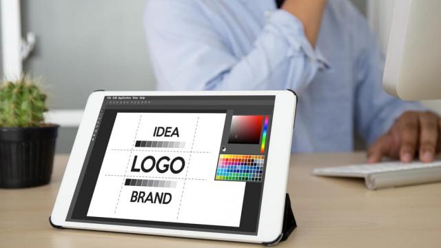 logo design message on iPad