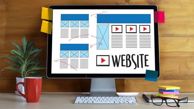 web design project on iMac computer