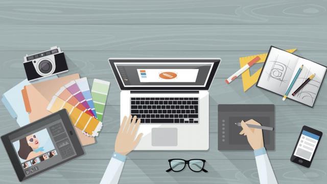 graphic designer illustration working on laptop