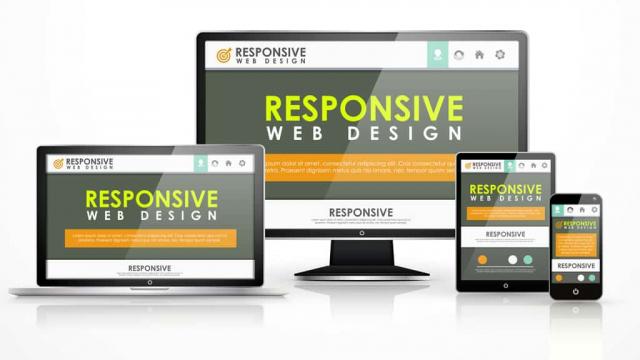 responsive web design example on laptop, desktop, tablet, phone
