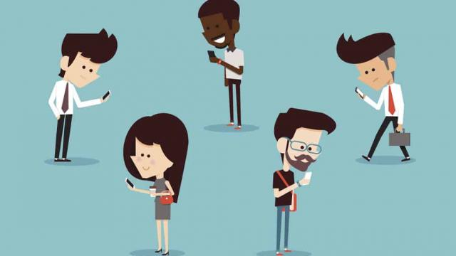cartoon of 5 people looking at their mobile phones