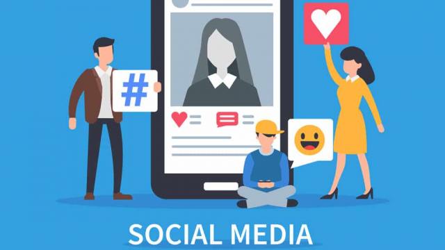 man woman child sitting around phone with social media elements illustration